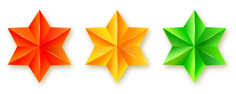 Placez des icônes des étoiles facettées Six hexagones aigus tridimensionnels réalistes d'isolement sur le fond blanc Rouge, vert illustration libre de droits