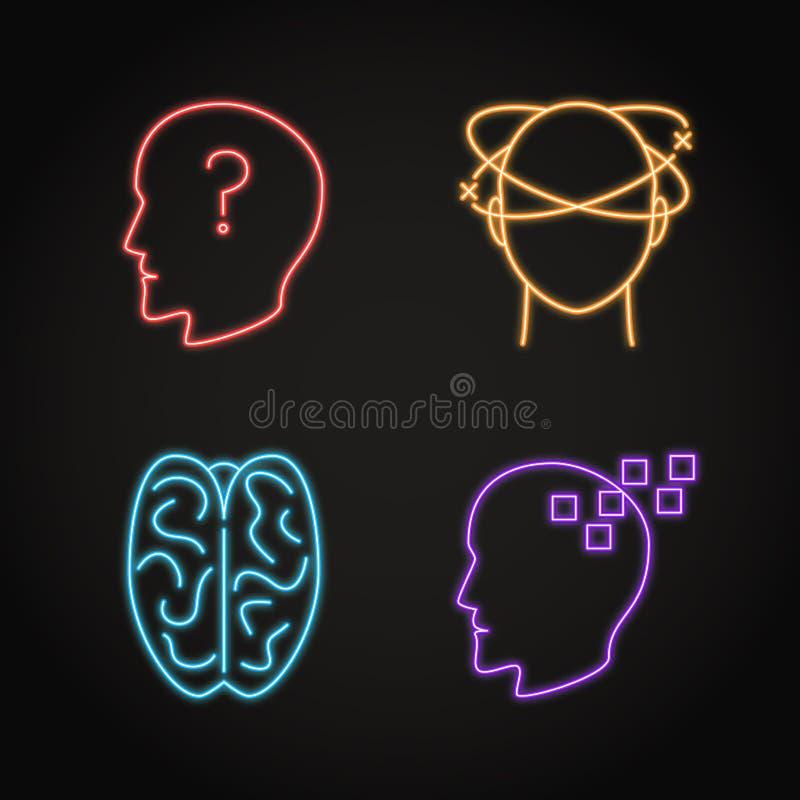 Placez des icônes au néon de concept neurologique de problèmes illustration stock