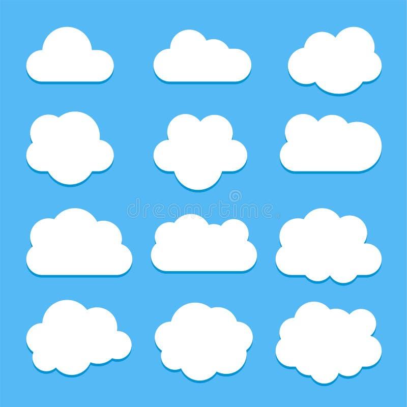 Placez des icônes blanches de nuage dans le style plat d'isolement sur le fond bleu illustration libre de droits