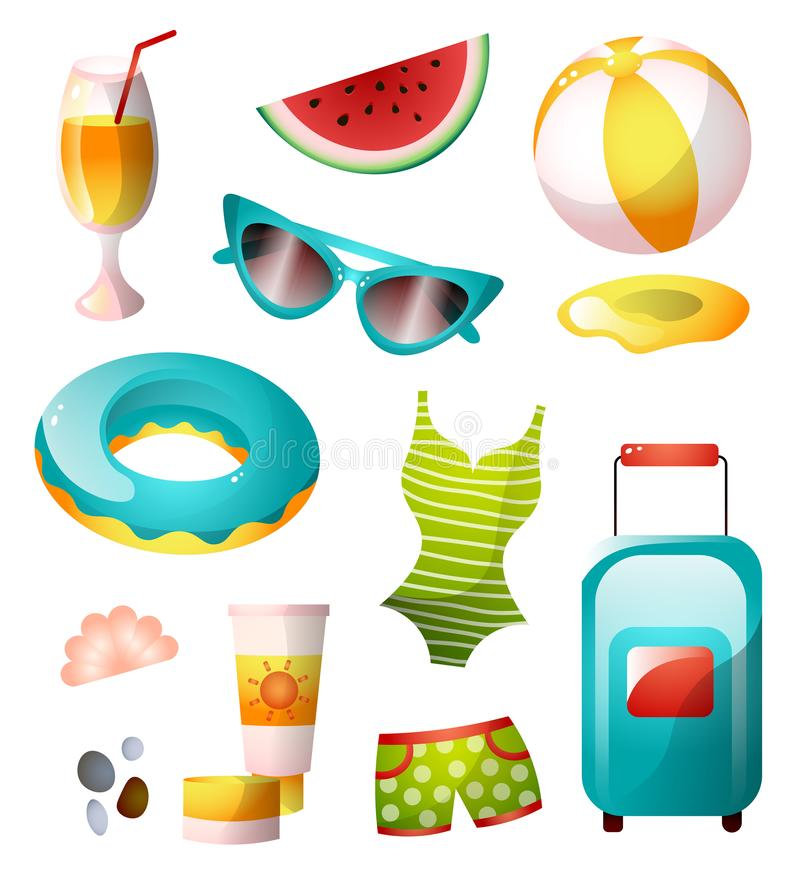 Placez des icônes d'été, conception colorée, plage ensoleillée illustration libre de droits
