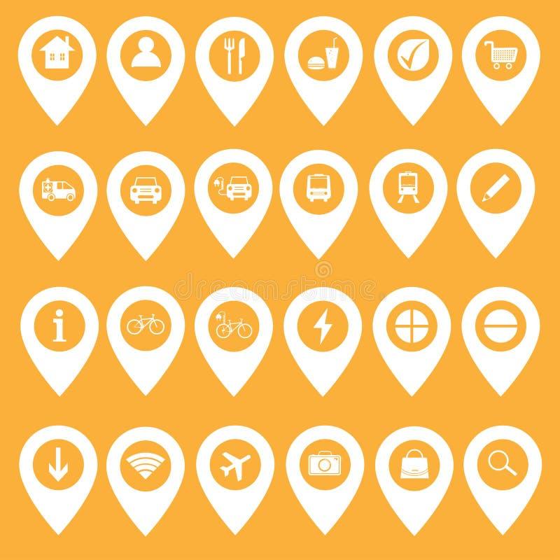 Placez des icônes de carte et des marqueurs - illustration de vecteur illustration stock