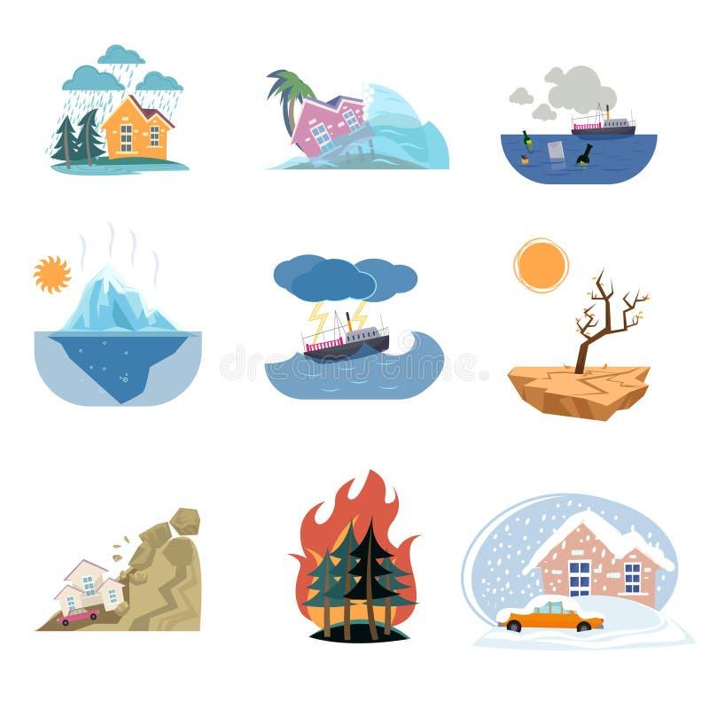 Placez des icônes de catastrophe et des catastrophes naturelles extérieures d'isolement sur le fond blanc illustration stock