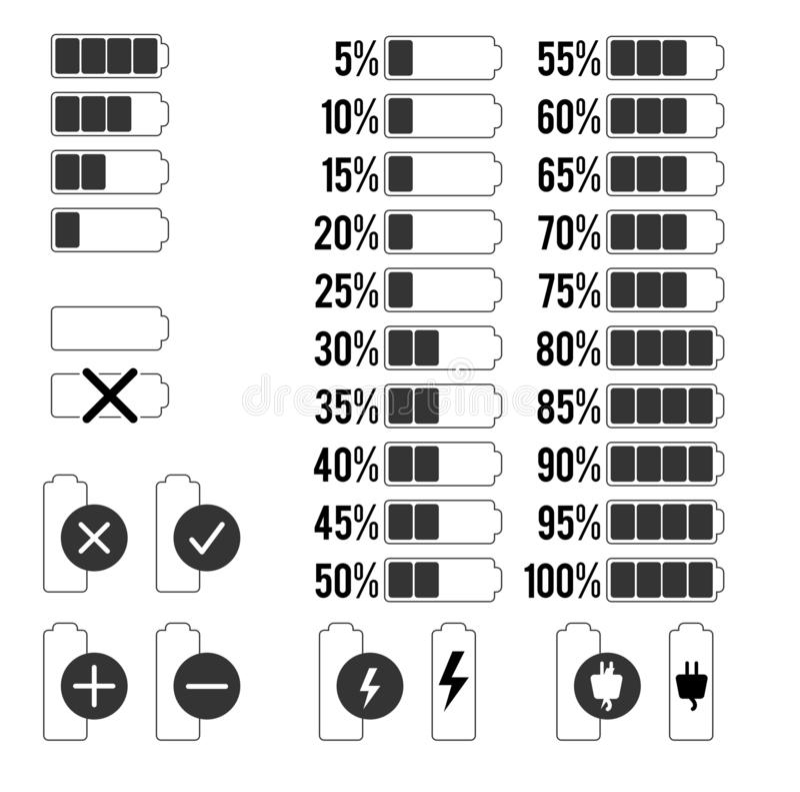 Placez des icônes de charge de batterie avec des pourcentages et des symboles photos libres de droits