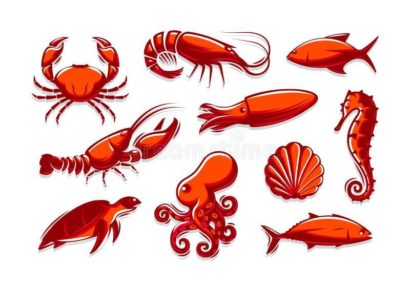 Placez des icônes de créatures de mer Crabe, crevette, thon, calmar, homard, poulpe, coquille, tortue, collection d'hippocampe Ro illustration libre de droits