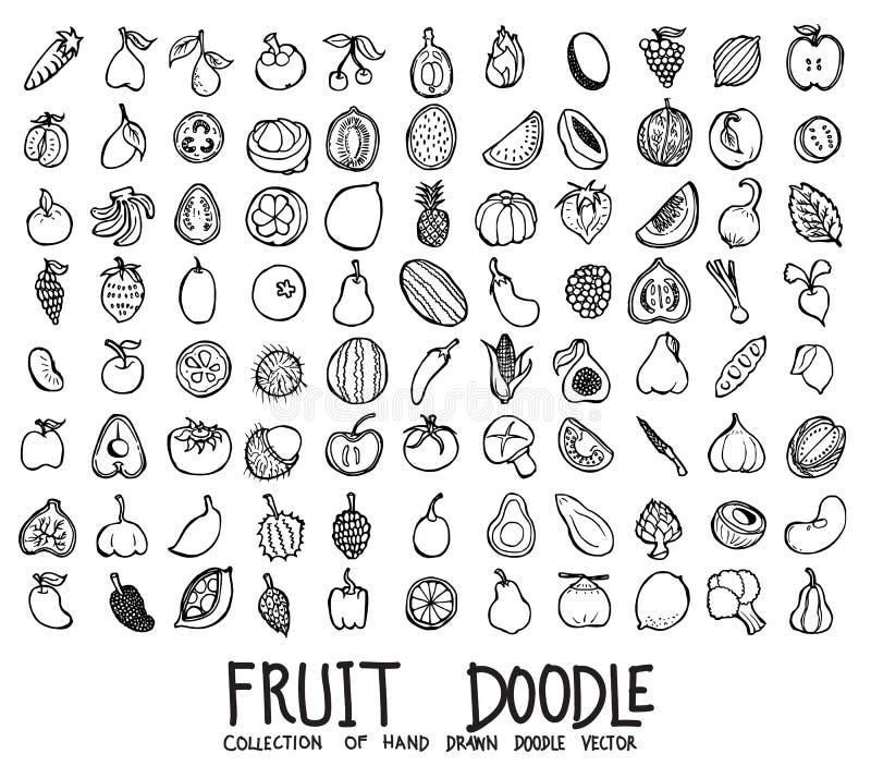 Placez des icônes de fruit traçant la ligne tirée par la main le vecteur eps10 de croquis de griffonnage d'illustration illustration libre de droits
