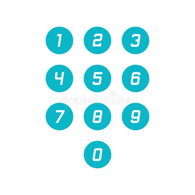 Placez des icônes de nombre du rond 0-9 Illustration de vecteur illustration de vecteur