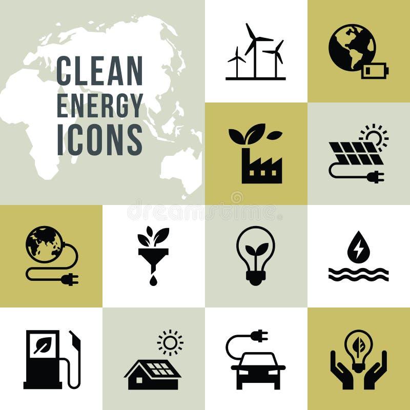 Placez des icônes de vecteur d'énergie propre dans le style plat illustration libre de droits