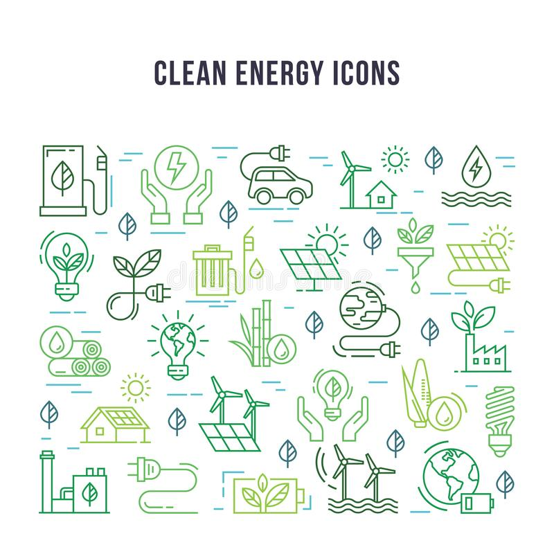 Placez des icônes linéaires sur le thème de l'énergie propre illustration libre de droits