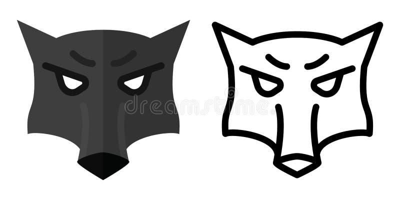 Placez des icônes - logos dans le style linéaire et plat la tête d'un loup Illustration de vecteur illustration libre de droits