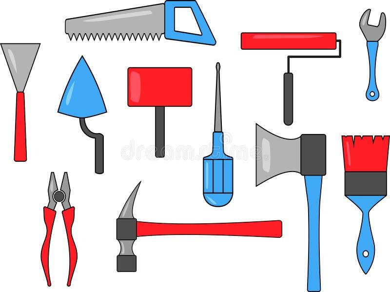 Placez des icônes multicolores d'outil illustration de vecteur