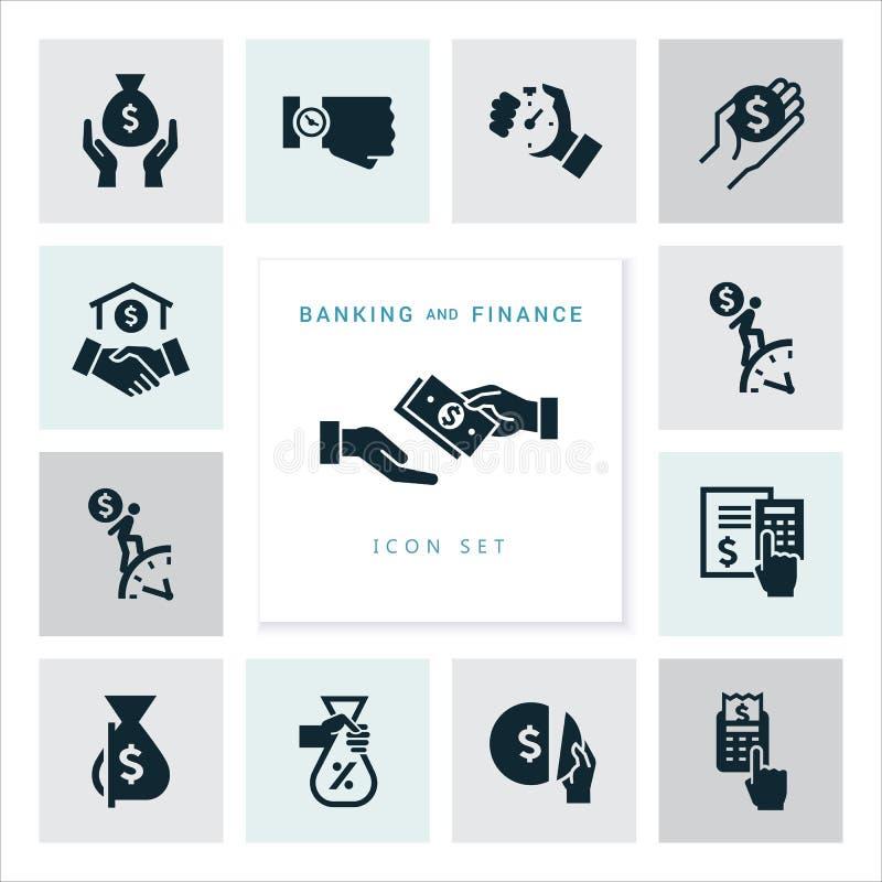 Placez des icônes plates de concept de construction pour des finances, des opérations bancaires, des affaires, le paiement, et de illustration stock