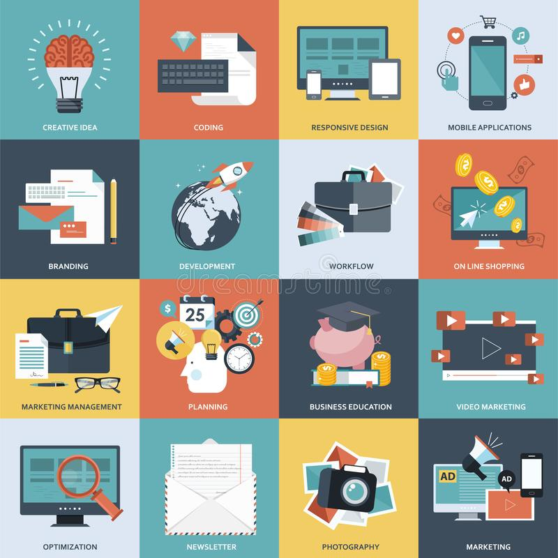 Placez des icônes plates de concept de construction pour le développement de site Web, la conception graphique, le marquage à cha illustration stock