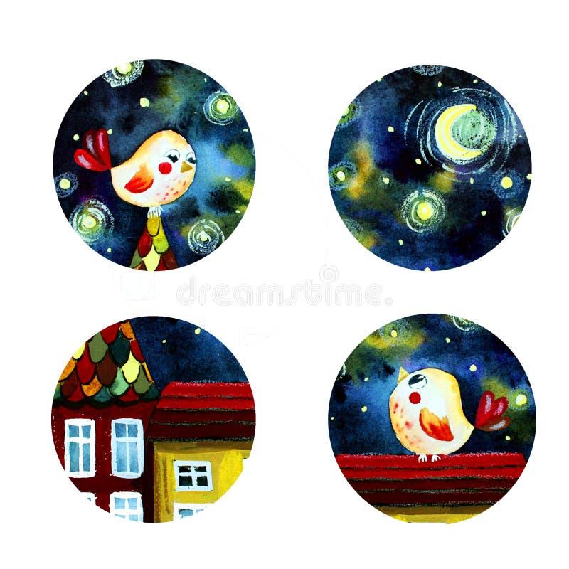 Placez des icônes rondes d'aquarelle illustration libre de droits