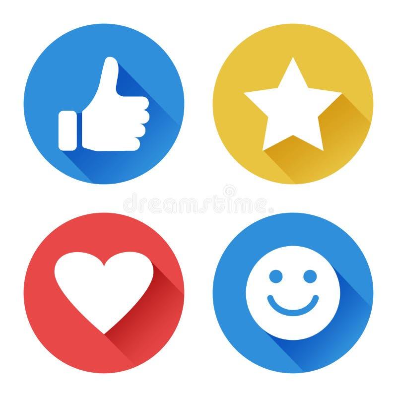 Placez des icônes rondes pour l'évaluation symboles d'estimation Illustration de vecteur illustration libre de droits