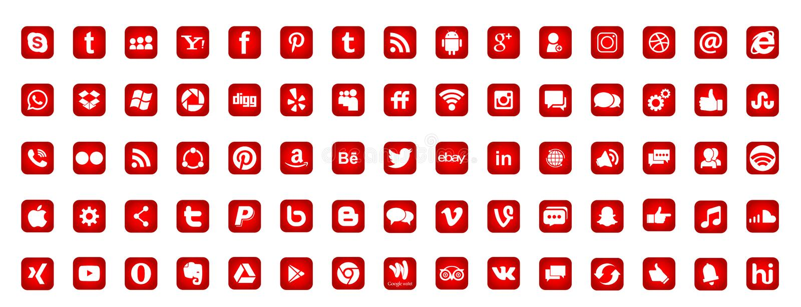 Placez des icônes sociales populaires Instagram Facebook Twitter Youtube WhatsApp LinkedIn Pinterest Blogd de logos de médias sur illustration de vecteur