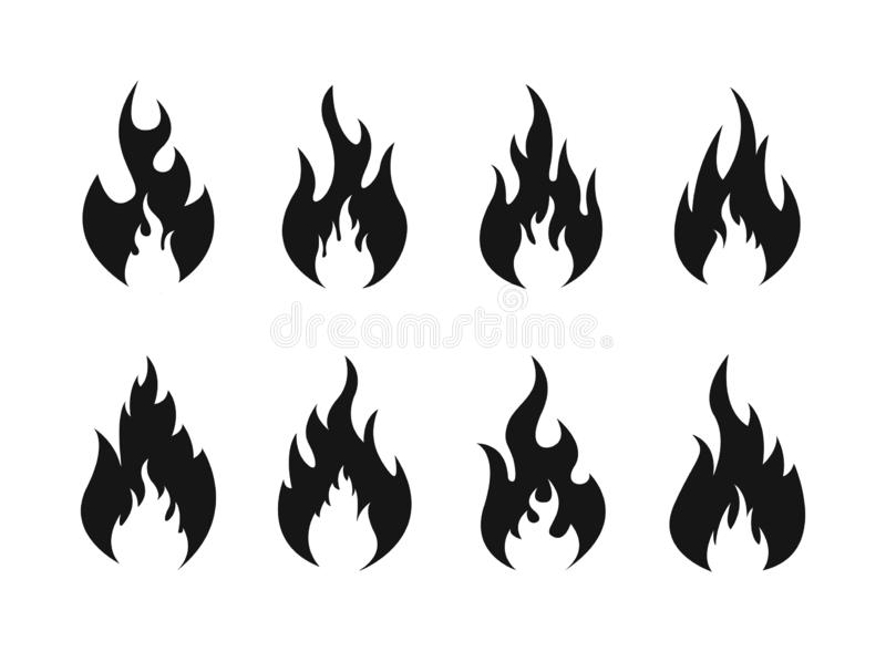 Placez des ic?nes de flammes du feu Silhouette du feu Illustration de vecteur illustration libre de droits