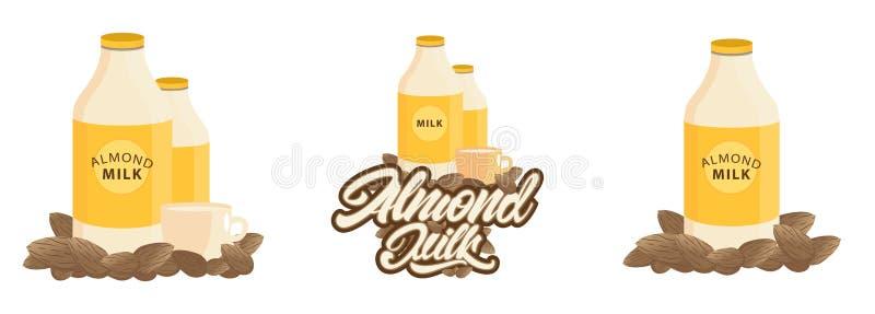 Placez des illustrations de lait d'amande avec le lettrage et la typographie Vecteur illustration libre de droits
