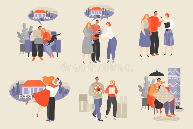 Placez des illustrations de vecteur d'un couple achetant une nouvelle maison illustration stock