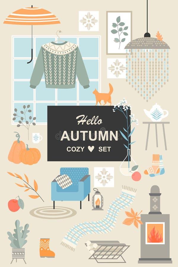 Placez des illustrations mignonnes de vecteur des objets et des attributs du style scandinave de hygge Accessoires d'automne illustration libre de droits