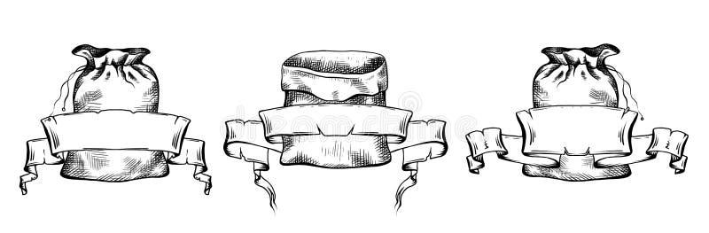 Placez des illustrations noires et blanches des sacs tirés par la main de toile avec la bannière de parchemin de rouleau Objets s illustration libre de droits