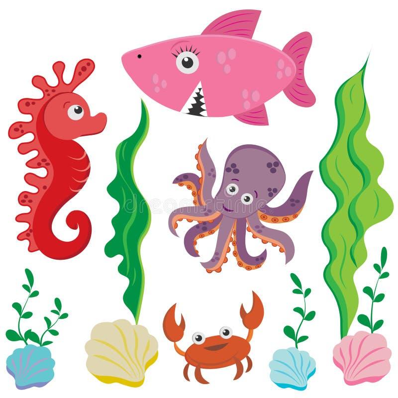 Placez des images d'espèce marine dans le style de bande dessinée : poulpe, raie marin, requin, crabe, d'isolement sur le fond bl illustration libre de droits