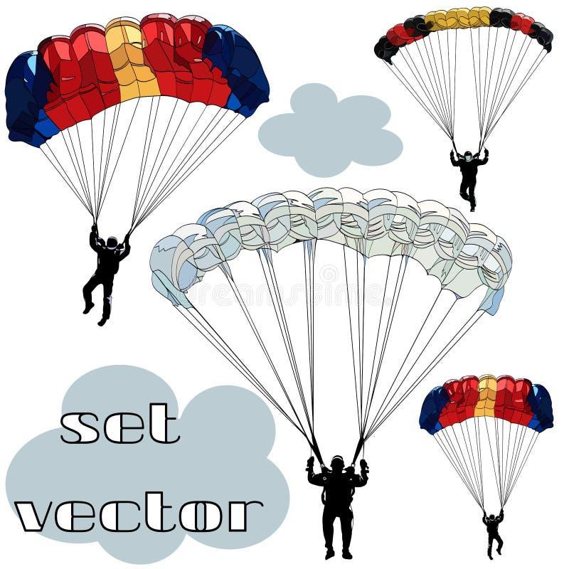 Placez des images de vecteur des chiffres noirs de découpe des parachutistes sur les parachutes multicolores d'isolement sur le f illustration stock