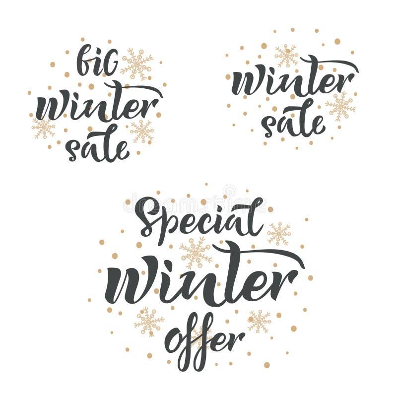 Placez des inscriptions manuscrites de vente d'hiver Grande vente d'hiver, offre spéciale d'hiver, lettrage de main de vecteur de illustration stock