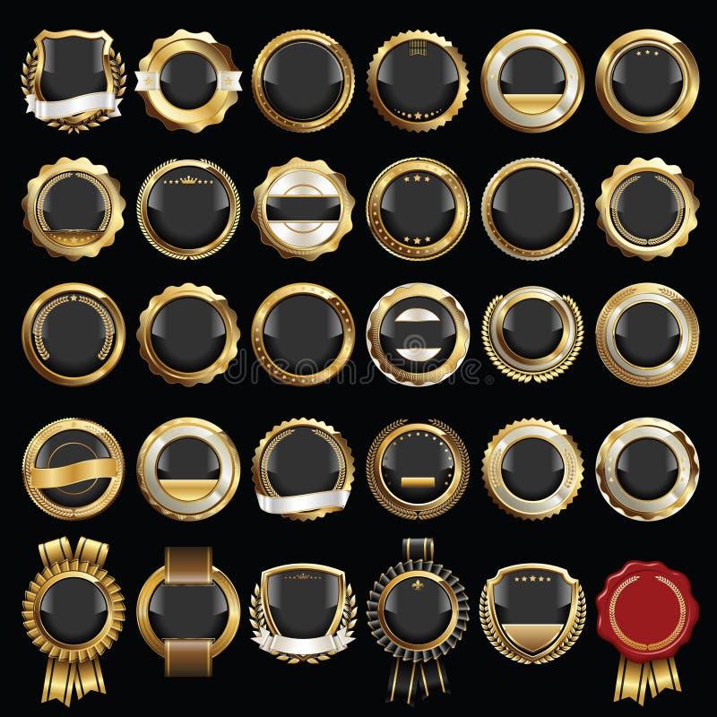 Placez des insignes noirs d'or de la meilleure qualité illustration libre de droits