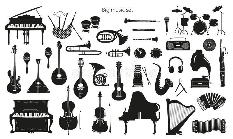 Placez des instruments de musique sur le fond blanc illustration stock