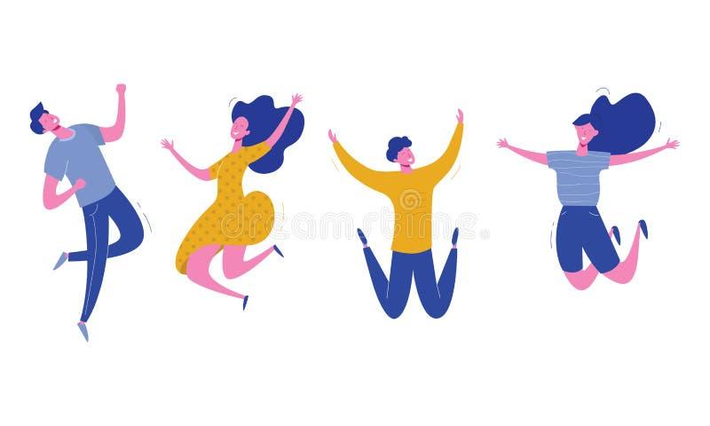 Placez des jeunes sautant sur le fond blanc Illustration moderne élégante de vecteur avec le mâle et les personnages féminins heu illustration de vecteur