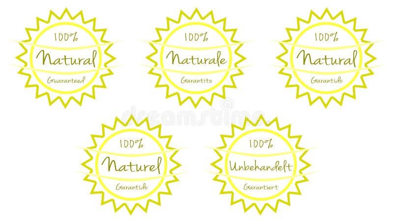 Placez des labels avec les mots 100% naturel, couleurs, le soleil, d'isolement photographie stock