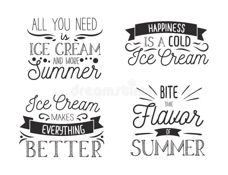 Placez des labels inspirés de typographie de crème glacée  Affiche inspirée d'été Illustration de vecteur illustration stock