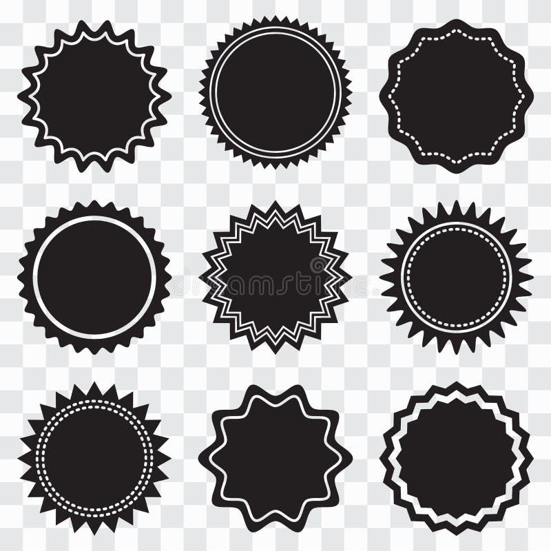 Placez des labels noirs ronds Illustration de vecteur illustration stock