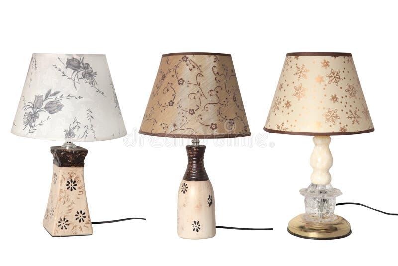 Placez des lampes de table d'isolement sur le fond blanc photo stock