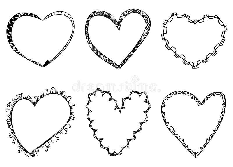 Placez des lignes en forme de coeur illustration tirée par la main de griffonnage de vecteur de cadres illustration libre de droits