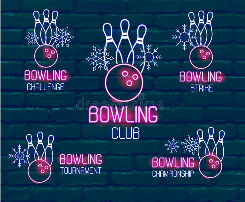Placez des logos au néon dans des couleurs rose-bleues avec des quilles, boule de bowling, flocons de neige Collection de 5 signe photos stock