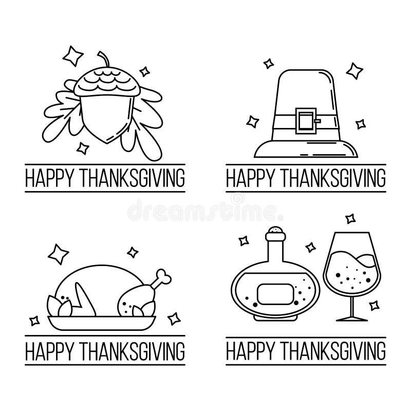 Placez des logos de thanksgiving Illustration de vecteur illustration de vecteur