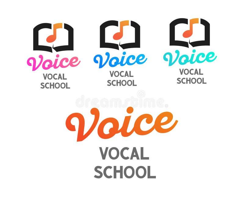 Placez des logos de vecteur pour l'école vocale - conception créative d'emblème sur le fond transparent blanc illustration de vecteur