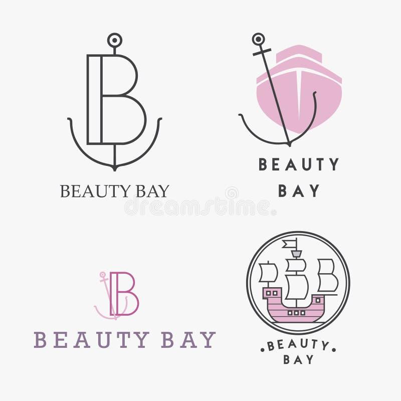 Placez des logos, des insignes et des labels nautiques sur le tableau blanc illustration stock