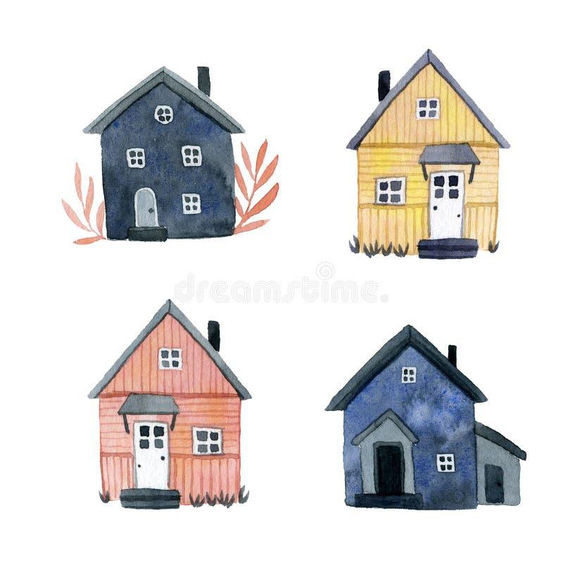 Placez des maisons en bois mignonnes multicolores illustration stock