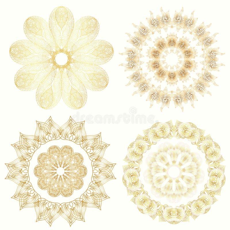 Placez des mandalas d'or de griffonnage d'ornement Elem décoratif de cru illustration de vecteur