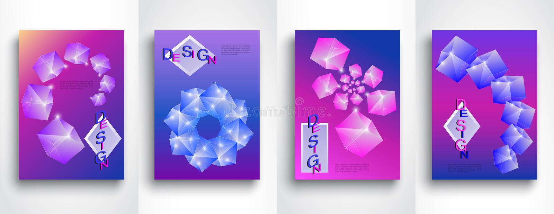 Placez des milieux abstraits des formes 3d dans A4 Illustration créative de vecteur Conception abstraite moderne lumineuse illustration libre de droits