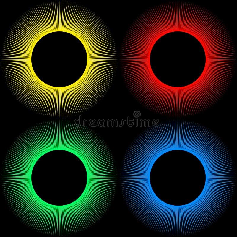 Placez des milieux sous forme de boules colorées avec des rayons d'isolement sur un noir illustration libre de droits