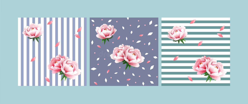 Placez des modèles floraux sans couture avec les pivoines doucement roses sur un fond bleu-clair et vert clair avec les rayures b illustration libre de droits