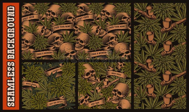 Placez des modèles sans couture avec des crânes et des cannabis illustration libre de droits
