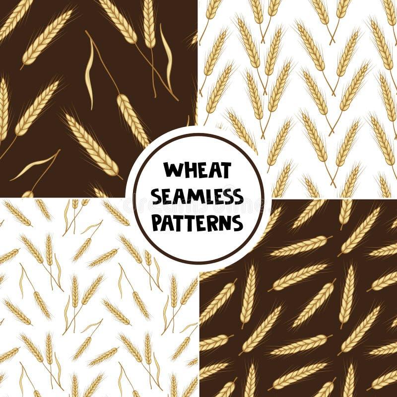 Placez des modèles sans couture de blé Illustration de vecteur des oreilles des blés illustration de vecteur