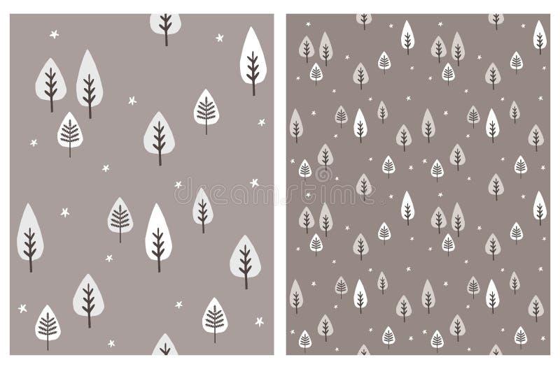 Placez des modèles sans couture de vecteur abstrait d'arbre Illustrations infantiles simples de région boisée illustration de vecteur