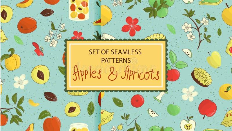 Placez des mod?les sans couture de vecteur des pommes tir?es par la main mignonnes, abricots, tarte, fleurs, pot de confiture illustration libre de droits