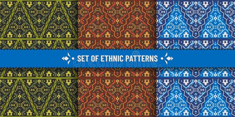 Placez des modèles sans couture ethniques avec l'ornement géométrique illustration libre de droits