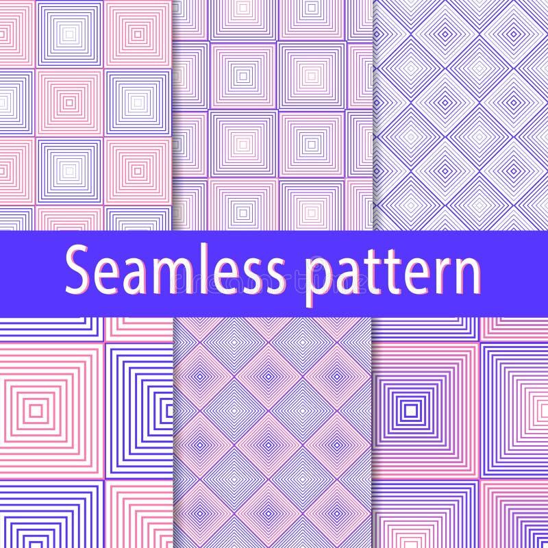 Placez des modèles sans couture des places et des losanges rose-bleus avec le gradient illustration libre de droits